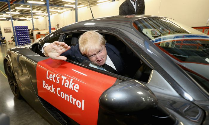 Prominent Brexit campaigner Boris Johnson drives a sports car during a Vote Leave event in Yorkshire on May 23, 2016, in Leeds, England. Some of his fellow campaigners for Vote Leave went on to become government ministers. (Christopher Furlong/Getty Images)