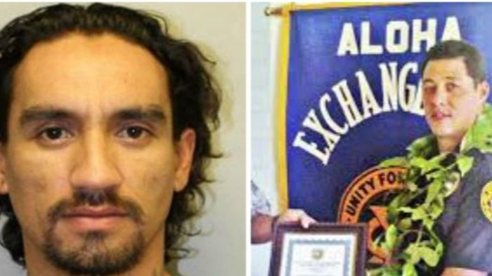 Justin Joshua Waiki (L) is the suspect in the shooting of Officer Bronson K. Kaliloa (R). (Hawaii Police Department / Officer Down Memorial Page)