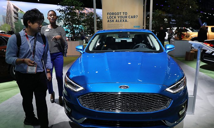A Ford Fusion is displayed at the Jacob K. Javits Convention Center in New York City on March 28, 2018, during the New York International Auto Show. (Spencer Platt/Getty Images)