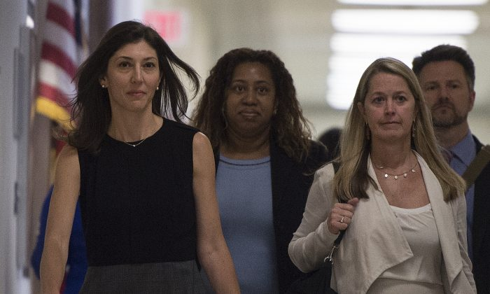 Lisa Page, former legal counsel to former FBI Deputy Director Andrew McCabe, arrives on Capitol Hill July 13, 2018. (Andrew Caballero-Reynolds/AFP/Getty Images)