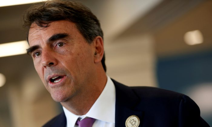 Venture capitalist and CAL 3 Chairman Tim Draper speaks during a press conference after announcing he has collected more than 600,000 signatures to put the plan to partition California into three states onto the November ballot in San Mateo, Calif., April 12, 2018. (Stephen Lam/Reuters/File Photo)
