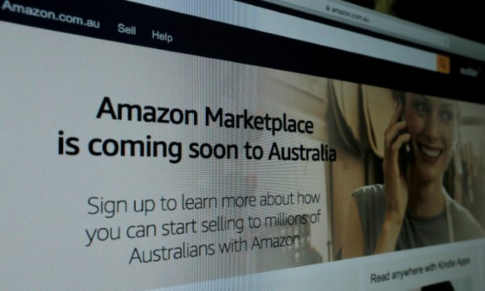 A web page featuring Amazon's Australian URL is pictured in this photo illustration April 20, 2017.   (Reuters/Jason Reed)