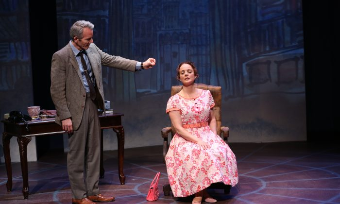 """Stephen Bogardus and Melissa Errico in Irish Repetory Theatre's """"On a Clear Day You Can See Forever."""" (Carol Rosegg)"""