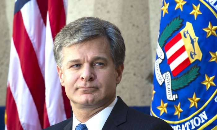 FBI Director Christopher Wray at FBI headquarters in Washington on Sept. 28, 2017. (SAUL LOEB/AFP/Getty Images)