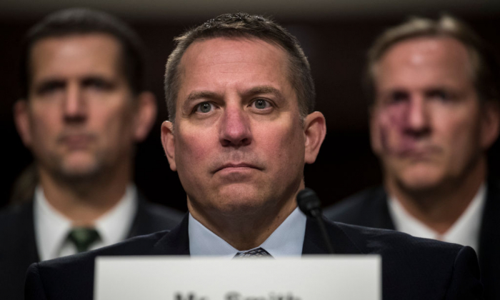 Scott Smith, assistant director for the Cyber Division at the Federal Bureau of Investigation (FBI), testifies during a Senate Armed Services Committee hearing concerning the roles and responsibilities for defending the nation against cyber attacks, on Capitol Hill in Washington on Oct. 19, 2017. (Photo by Drew Angerer/Getty Images)