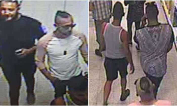 CCTV footage was released of the suspects in connection with an attack with a corrosive substance on a 3-year-old boy in Worcester, UK, July 21, 2018. (West Mercia Police)