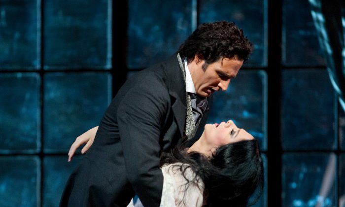 "James Valenti as Alfredo and Angela Gheorghiu as Violetta in Giuseppe Verdi's ""La Traviata."" Why do so many sopranos die in opera? (Marty Sohl/ The Metropolitan Opera)"