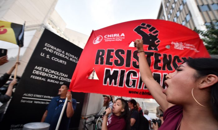 An Occupy ICE protest in Los Angeles, on June 14, 2018. (ROBYN BECK/AFP/Getty Images)