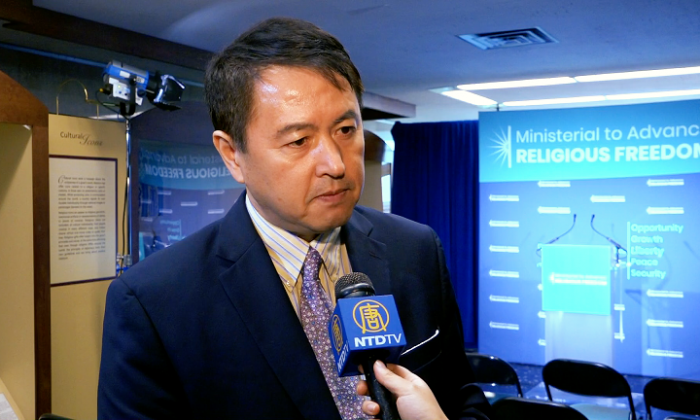 Zhang Erping, spokesperson for Falun Gong, at the Ministerial to Advance Religious Freedom on July 24 in Washington. (Wu Wei/NTD)