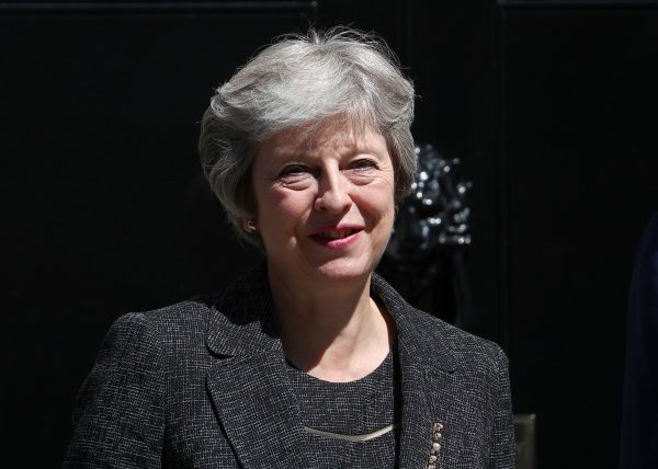 Britain's Prime Minister Theresa May on the doorstep of 10 Downing Street London