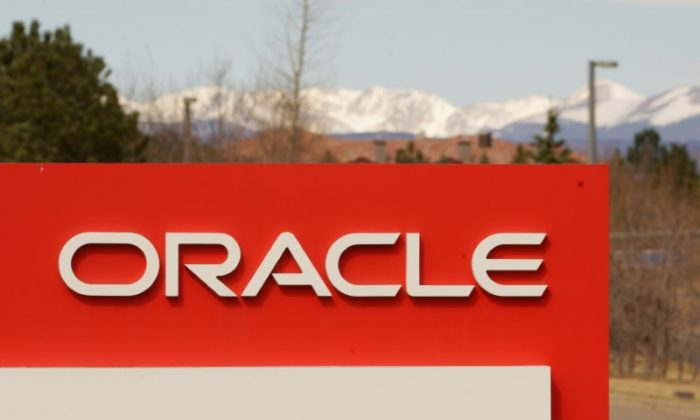 The sign outside Oracle's offices in Broomfield, Colorado on March 15, 2017.  (Reuters/Rick Wilking)