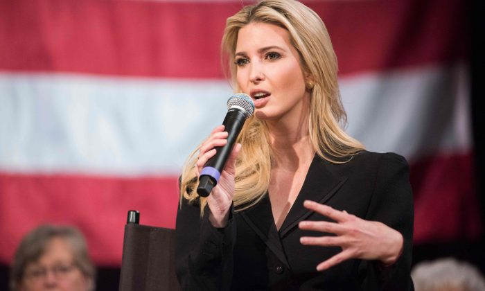 Ivanka Trump speaks at the Derry Opera House during a town hall with residents of Derry, New Hampshire on April 17, 2018. (Ryan Mcbride/AFP/Getty Images)