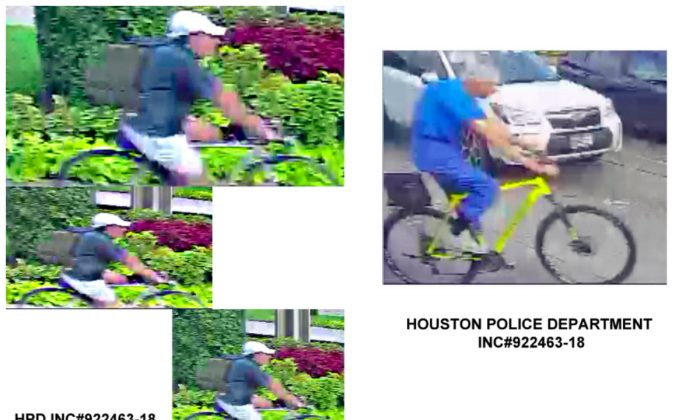 """L: The gunman who shot George H.W. Bush's former doctor was wearing a """"fully-loaded"""" backpack, as seen in a new police surveillance footage. R: Dr. Mark Hausknecht is pictured on the yellow bicycle in the surveillance video. (Houston Police Department)"""