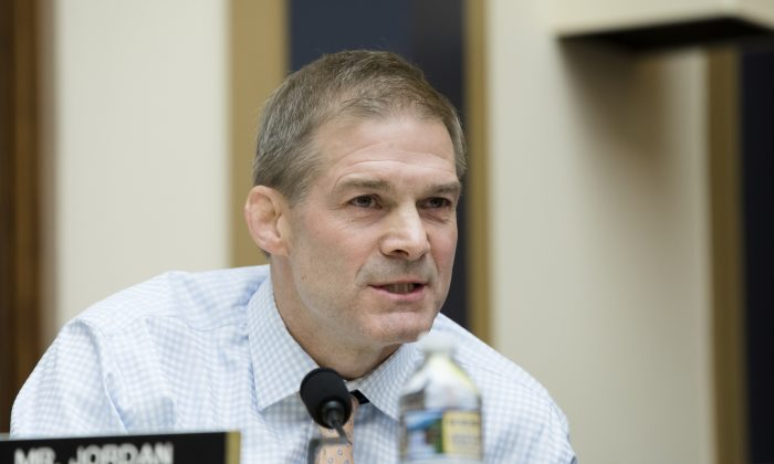 Rep. Jim Jordan (R-Ohio) at a hearing with Deputy Attorney General Rod Rosenstein where he testifies before the House Judiciary Committee about Special Counsel Robert Mueller's investigation of Russia's alleged election interference in 2016, in Washington on Dec. 13, 2017. (Samira Bouaou/The Epoch Times)