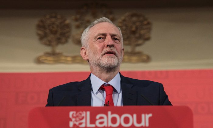 Labour leader Jeremy Corbyn makes a campaign speech for the 2017 general election at Assembly Hall in Westminster on April 20, 2017 in London. (Jack Taylor/Getty Images)