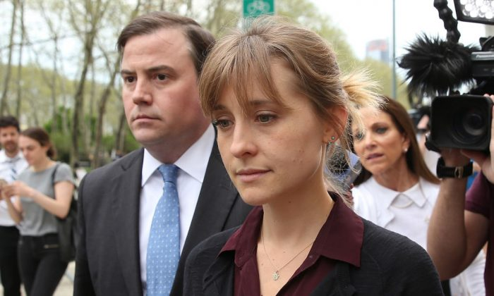 Actress Allison Mack leaves the U.S. Eastern District Court after a bail hearing related to sex-trafficking charges filed against her, on May 4, 2018. (Jemal Countess/Getty Images)