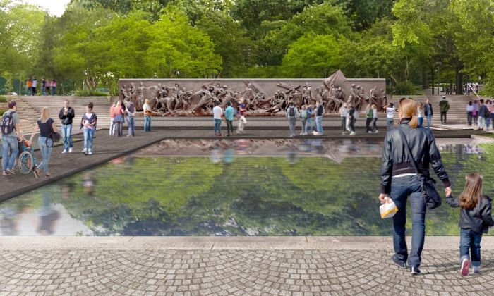 A rendering of architect Joe Weishaar's park design with Sabin Howard's bronze-relief sculpture for the National World War I Memorial, to be sited in Pershing Park, Washington (World War I Memorial Design Team).