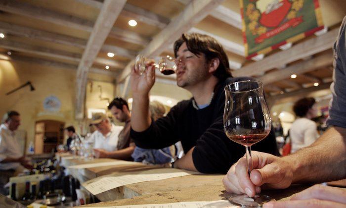 Jeff Hamaoui tastes wine at the Vianasa Winery May 16, 2005 in Napa Valley, California. (Photo by David Paul Morris/Getty Images)