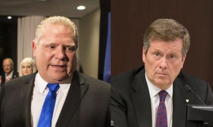 Ontario Premier Doug Ford (L) and Toronto Mayor John Tory (R). (The Canadian Press/Chris Young; Keith Beaty/Toronto Star via Getty Images)