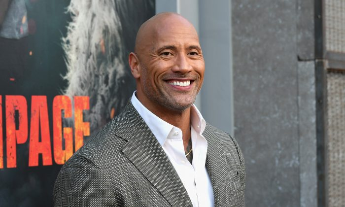 "Dwayne Johnson attends the premiere of Warner Bros. Pictures' ""Rampage"" in Los Angeles on April 4, 2018. (Kevin Winter/Getty Images)"