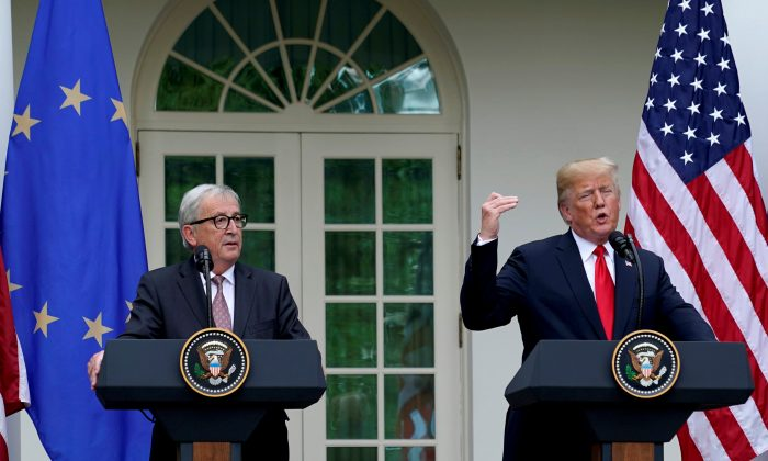 U.S. President Donald Trump and President of the European Commission Jean-Claude Juncker speak about trade relations in the Rose Garden of the White House in Washington, U.S., on July 25, 2018. (Joshua Roberts/Reuters)