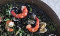 Fideuà Negra: Shrimp, Clams, Cuttlefish, and Fideo Noodles with Squid Ink