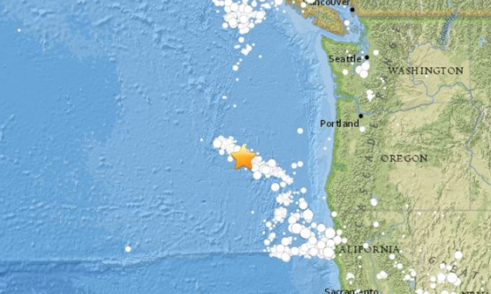A 5.3-magnitude earthquake struck off the coast of Oregon on Sunday morning, followed by a 4.4-magnitude quake. (USGS)