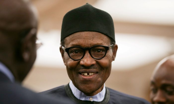 File photo: Nigeria's President Muhammadu Buhari attends a reception at the closing session of the Commonwealth Business Forum at the Guildhall in London, Britain on April 18, 2017. (Daniel Leal-Olivas/Pool via Reuters/File Photo)