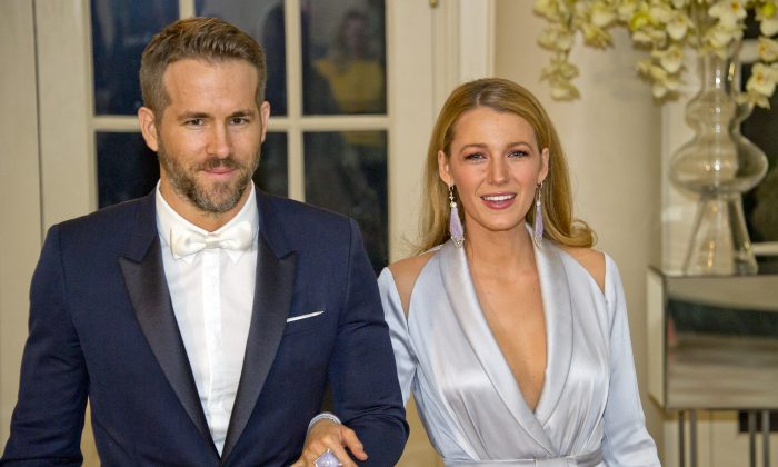 Actors Ryan Reynolds and Blake Lively arrive for the State Dinner in honor of Prime Minister Trudeau and Mrs. Sophie Trudeau of Canada at the White House March 10, 2016 in Washington, DC. (Photo by Ron Sachs-Pool/Getty Images)