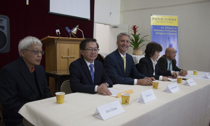 Frank Lee (2nd L) and Dr. Brad Dacus (3rd L) during a PJI event in Northern California (Lear Zhou/The Epoch Times)