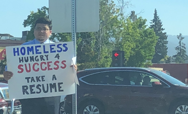 A 26-year-old homeless man received hundreds of job offers after handing out his resume on the street in California. (Jasmine Scofield via Storyful)