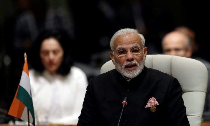 Indian Prime Minister Narendra Modi speaks during the BRICS Summit in Johannesburg, South Africa, July 26, 2018.  (Reuters/Themba Hadebe/Pool via Reuters)