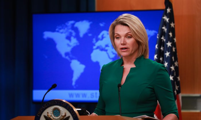 Acting Under Secretary of State for Public Diplomacy and Public Affairs and State Department spokesperson Heather Nauert at a press briefing at the State Department in Washington on July 31, 2018. (Samira Bouaou/The Epoch Times)