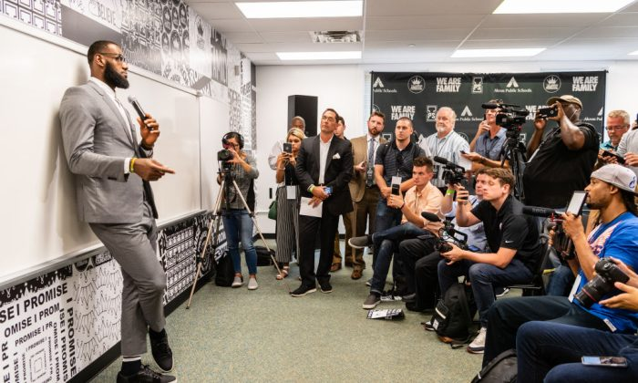 LeBron James addresses the media after the opening ceremonies of the I Promise School on July 30, 2018 in Akron, Ohio. The School is a partnership between the LeBron James Family foundation and the Akron Public School and is designed to serve Akron's most challenged students, July 30, 2018. (Jason Miller/Getty Images)