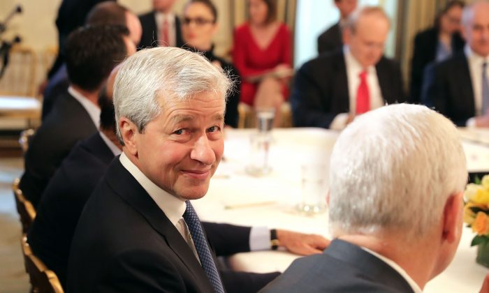 J.P. Morgan Chase CEO Jamie Dimon attends a policy forum with President Donald Trump in the State Dining Room at the White House in Washington on Feb. 3, 2017. (Chip Somodevilla/Getty Images)