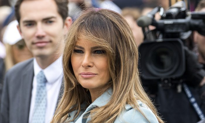 First Lady Melania Trump at the annual Easter Egg Roll on the South Lawn of the White House on April 2, 2018. (Samira Bouaou/The Epoch Times)