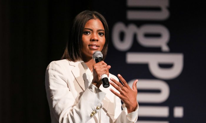 Candace Owens, conservative commentator and activist, speaks at the High School Leadership Summit, a Turning Point USA event, at George Washington University in Washington on July 26. (Samira Bouaou/The Epoch Times)