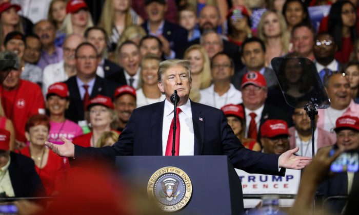 President Donald Trump speaks at a Make America Great Again rally in Tampa, Florida on July 31, 2018. (Charlotte Cuthbertson/The Epoch Times)