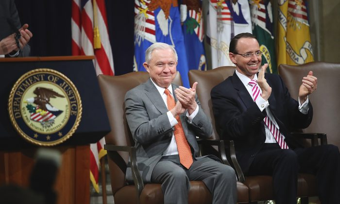 U.S. Attorney General Jeff Sessions (L) and Deputy Attorney General Rod Rosenstein (R) attend the Religious Liberty Summit at the Department of Justice on July 30, 2018. Win McNamee/Getty Images