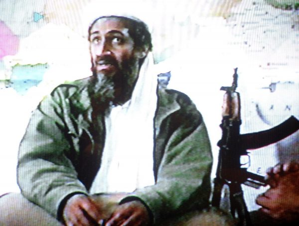 A video grab dated 19 June 2001 shows Saudi dissident Osama bin Laden in a video tape said to have been prepared and released by bin Laden himself. German security officials have accused Sami Aidoudi of serving as bin Laden's bodyguard. (AFP/Getty Images)