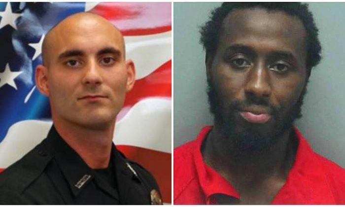 Officer Adam Jobbers-Miller (L) and his accused killer, Wisner Desmaret. (Fort Myers Police Department)