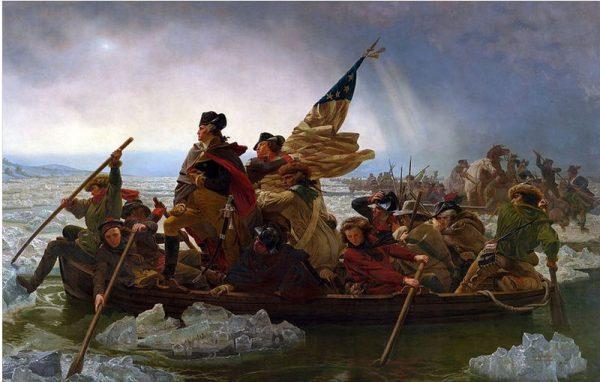 """Washington Crossing the Delaware"" was painted in 1851 German-American artist Emanuel Leutze. (Public Domain)"