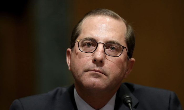 Alex Azar, Secretary of Health and Human Services, on Jan. 9, 2018, on Capitol Hill in Washington. (Win McNamee/Getty Images)