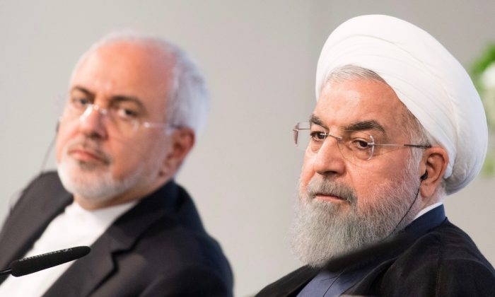 Iranian President Hassan Rouhani and Mohammad Javad Zarif, Iran's foreign secretary, at the Austrian Chamber of Commerce on July 4, 2018 in Vienna, Austria. (Photo by Michael Gruber/Getty Images)