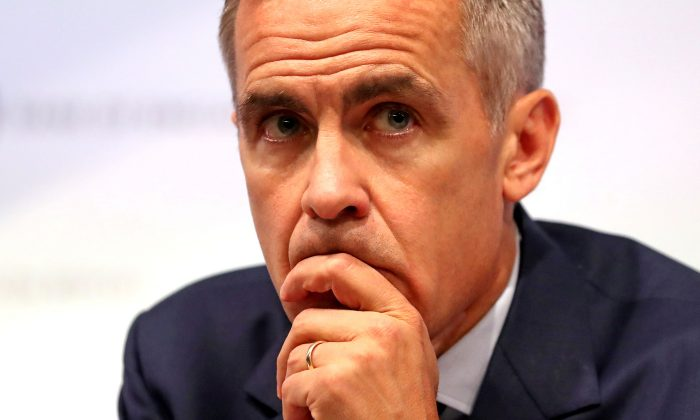 Bank of England Governor Mark Carney speaks during the central bank's quarterly Inflation Report news conference in London, Britain, Aug. 2, 2018. (Daniel Leal-Olivas/Pool via Reuters/File Photo)