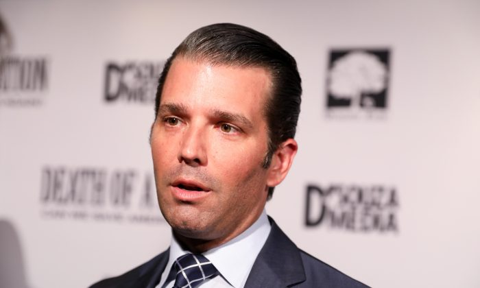 """Donald Trump Jr. at the premiere of """"Death of a Nation"""" in Washington on Aug. 1, 2018. (Samira Bouaou/The Epoch Times)"""