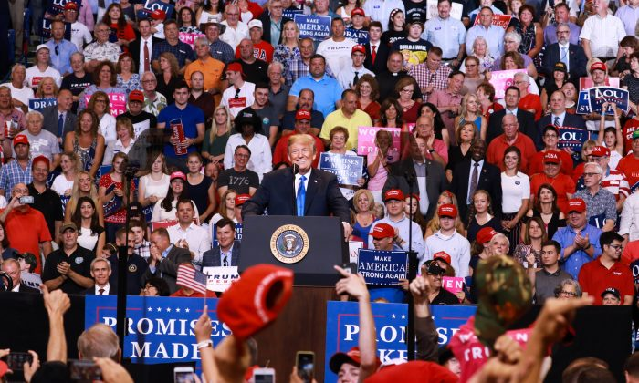 President Donald Trump at a Make America Great Again rally in Wilkes-Barre, Penn., on Aug. 2, 2018. (Samira Bouaou/The Epoch Times)