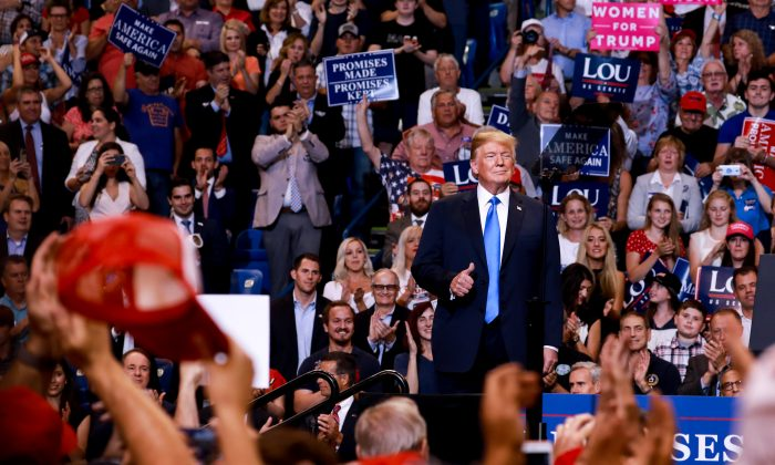 President Donald Trump at a Make America Great Again rally in Wilkes-Barre, Penn., on Aug. 2, 2018. (Samira Bouaou/Epoch Times)