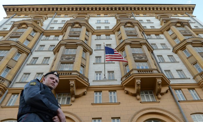 A Russian police officer patrols a street in front of the U.S. Embassy in Moscow on Sept. 20, 2012. (Kirill Kudryavtsev/AFP/GettyImages)