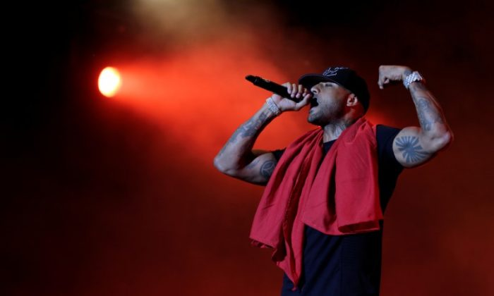 French rapper Booba performs during the 16th Mawazine World Rhythms International Music Festival in Rabat, Morocco May 16, 2017. (REUTERS/Youssef Boudlal)
